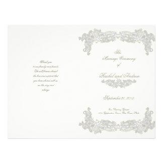 Victorian Floral Silver Gray Wedding Program 21.5 Cm X 28 Cm Flyer