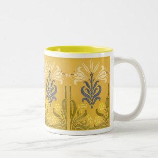 Victorian Floral Stencil Design Coffee Mug
