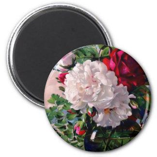 Victorian Floral Vase Study 6 Cm Round Magnet