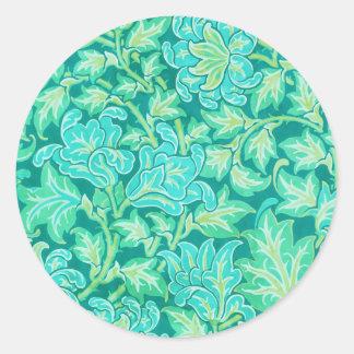 Victorian Floral Wallpaper Pattern Round Sticker