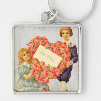 Victorian Floral Wedding Print Silver-Colored Square Key Ring