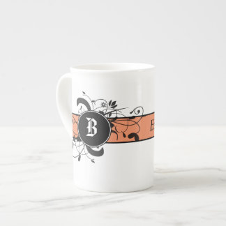Victorian Flourish Monogrammed Bone China Mug