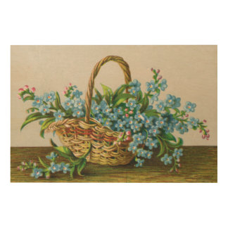 Victorian Forget-Me-Not Basket of Blossoms Wood Wall Decor