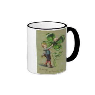 Victorian Four Leaf Clover Pig Swine Coffee Mug