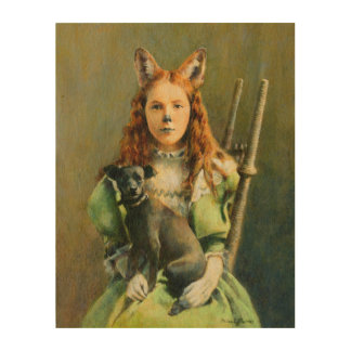 Victorian Fox Girl Wooden canvas Wood Canvases