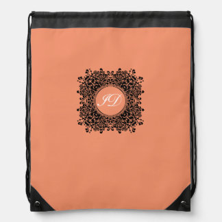 VICTORIAN FRAME | coral with monogram Drawstring Bag