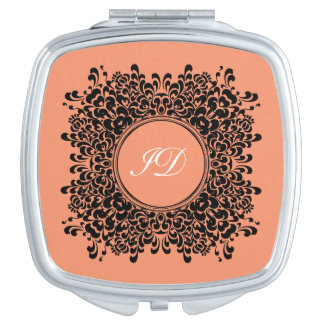 VICTORIAN FRAME | coral with monogram Mirror For Makeup