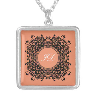VICTORIAN FRAME | coral with monogram Silver Plated Necklace