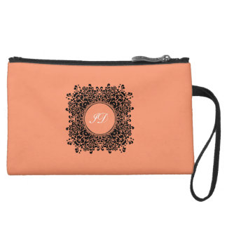 VICTORIAN FRAME | white and coral with monogram Suede Wristlet