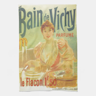 Victorian French bathtub advertisement woman Towel
