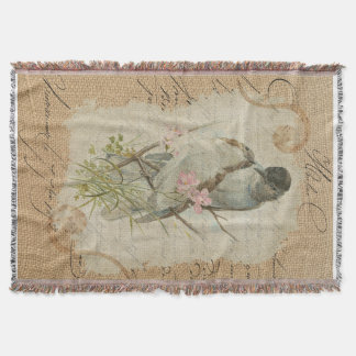 Victorian French Love Birds Love Song Throw Blanket