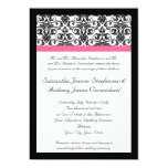 Victorian Fuchsia Pink and White Damask Personalised Announcements