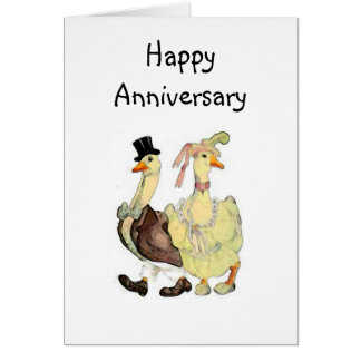 Victorian Geese Happy Anniversary Greeting Card
