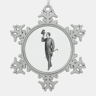 Victorian Gentleman Selfie Snowflake Pewter Christmas Ornament