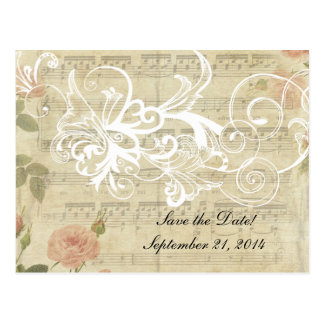 Victorian Ghost Music and Rose Save the Date Postcard