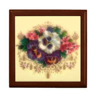 """Victorian """"Gilded Pansies"""" Gift Box"""