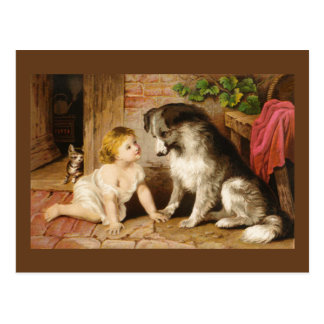 Victorian Girl and Her Dog Postcards