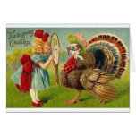 Victorian Girl And Turkey Thanksgiving Card