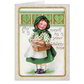 Victorian Girl Basket Heart Greeting Card