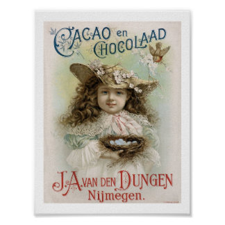Victorian Girl Chocolate Candy Advertising Art Pri Poster