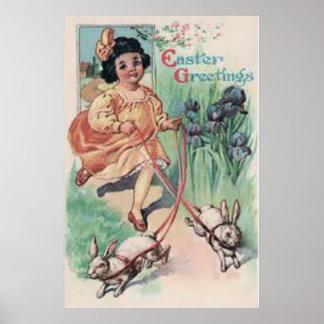 Victorian Girl Easter Bunny Iris Poster