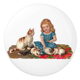 Victorian Girl feeding cats & kittens vintage art Ceramic Knob