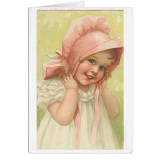 Victorian girl in a pink bonnet card