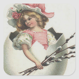 Victorian Girl In Easter Egg Cotton Rose Square Sticker