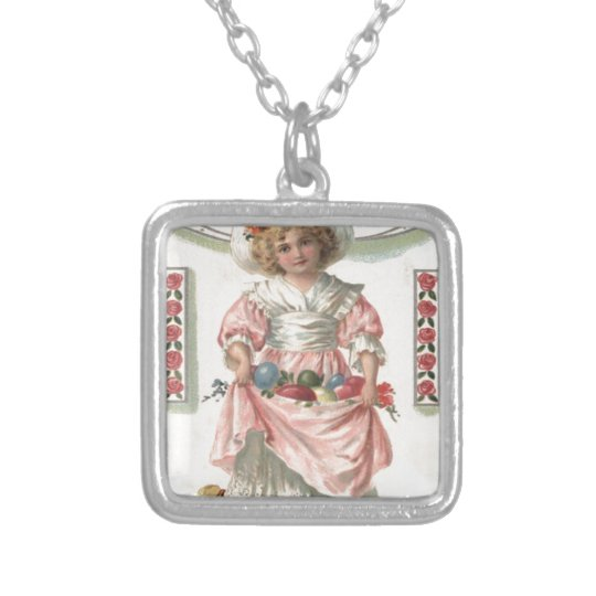 Victorian Girl Painted Coloured Easter Egg Rose Silver Plated Necklace
