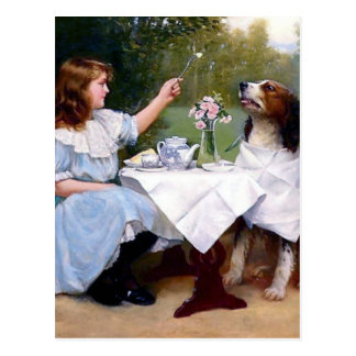 Victorian Girl Pet Dog Table Manners Painting Postcard