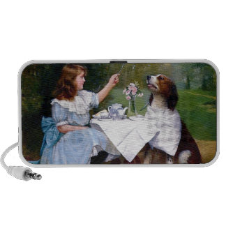 Victorian Girl Pet Dog Table Manners Painting Travelling Speaker