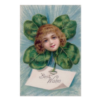 Victorian Girl Portrait Four Leaf Clover Poster