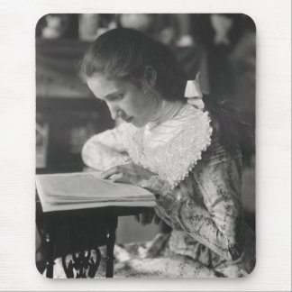Victorian girl reading a book mouse pad