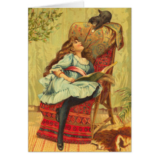 Victorian Girl Reading a Book With Her Cat Card