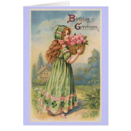Victorian girl roses vintage birthday greeting card