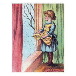 Victorian Girl Watching Snowfall Post Cards