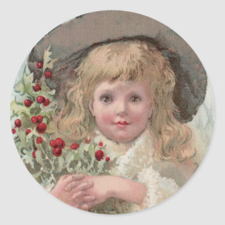 Victorian Girl with Christmas Holly Classic Round Sticker