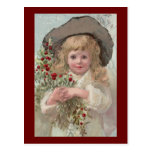Victorian Girl with Christmas Holly Postcard