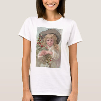 Victorian Girl with Christmas Holly T-Shirt