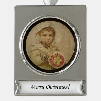 Victorian Girl with Christmas Roses Silver Plated Banner Ornament