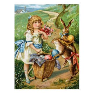 Victorian Girl with Easter Bunnies & Eggs Post Postcard
