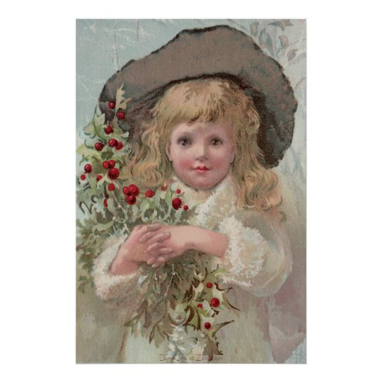 Victorian Girl with Holly Poster