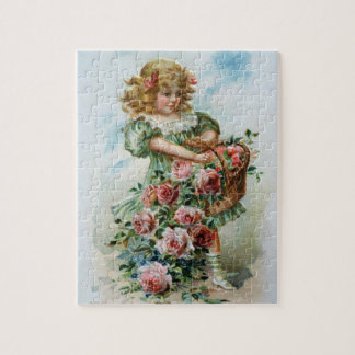Victorian Girl With Roses Puzzle