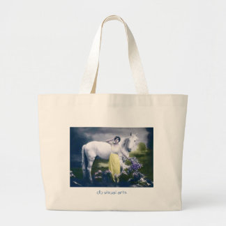 victorian girl with white horse large tote bag