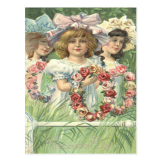 Victorian Girl Wreath Rose Memorial Day Postcard