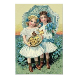 Victorian Girls Easter Chick Forget Me Not Umbrell Art Photo