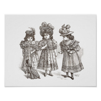 Victorian Girls in Big Hats Playing with a Doll Poster
