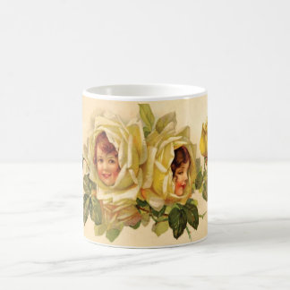 Victorian Girls Yellow Roses Coffee Cup Basic White Mug