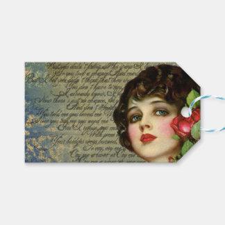Victorian Glamour Girl w/Red Rose Custom Gift Tags