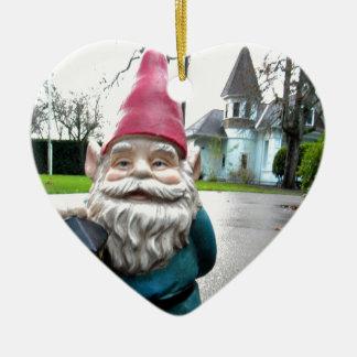 Victorian Gnome Ceramic Heart Decoration